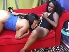 Busty black lesbian spoiling sexy chick