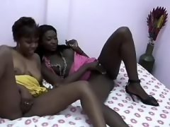 Interracial chicks have fun on ring