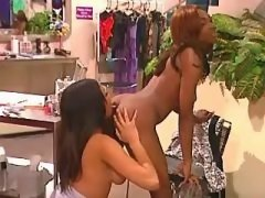 Three black lesbians use dildo by turns