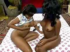 Hot black lesbian licks mature on kitchen